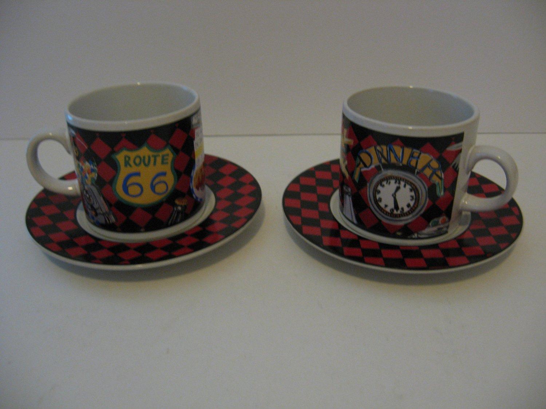 Vintage Sakura Roadside Route 66 coffee mug/saucer demitasse set of 2 - 1993
