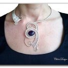 diy pdf tutorial Wire Weaving Jewelry Collar Flowing River,amethyst,occasion,Wicca,Reiki