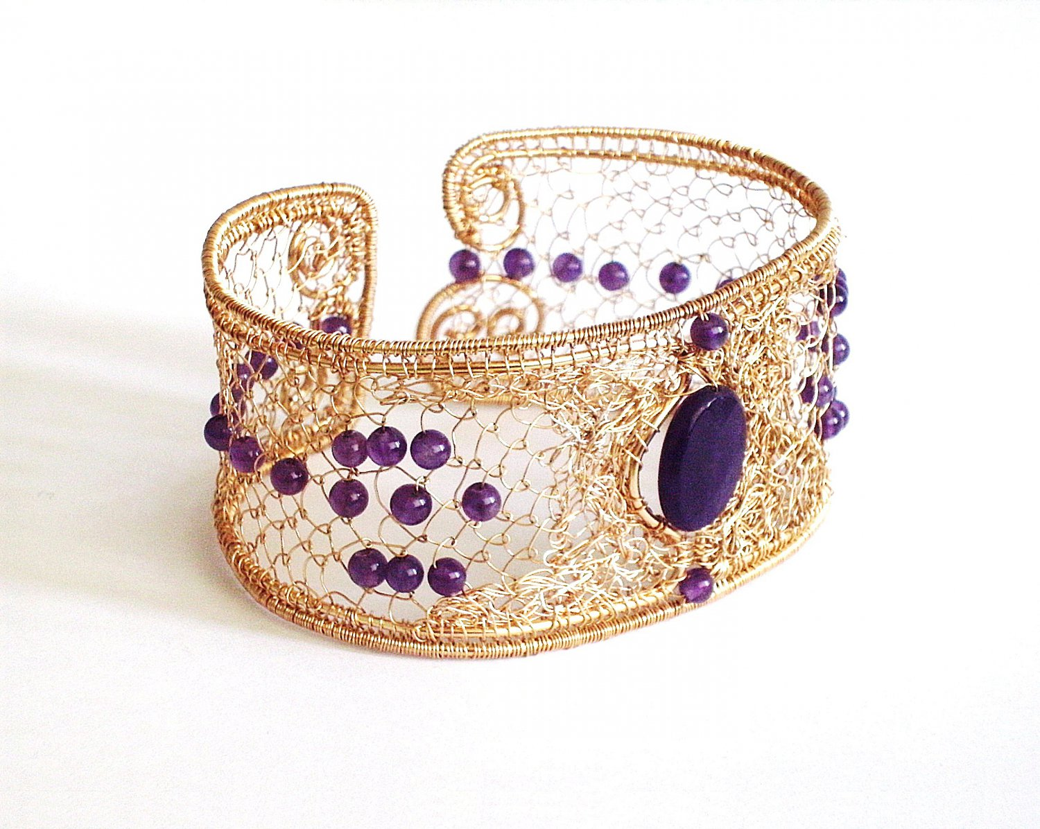 diy pdf tutorial Wire Wrapping Jewelry Filigree Amethyst Bangle,gift,crochet,amulet,pattern