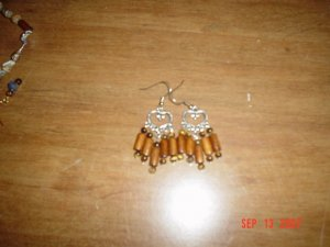 Tiger Eye and Wood Bead Chandelier Earrings