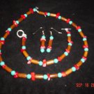 Red Coral and Turquoise Necklace, Bracelet and Earring Set