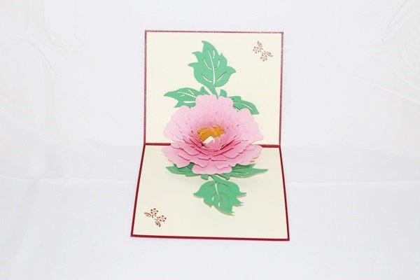 3D Pop Up Handmade Pink Flower Card US Seller Love Pop Card