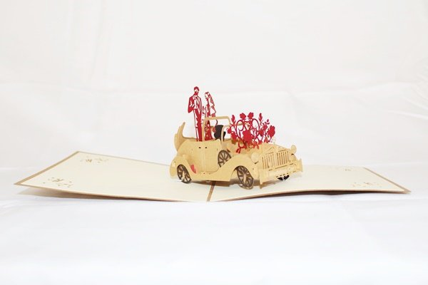 3D Pop Up Handmade Classic Wedding Car Card US Seller Love Pop Card