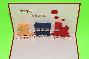 3D Pop Up Handmade Birthday Train Greeting Card US Seller Love Pop Card