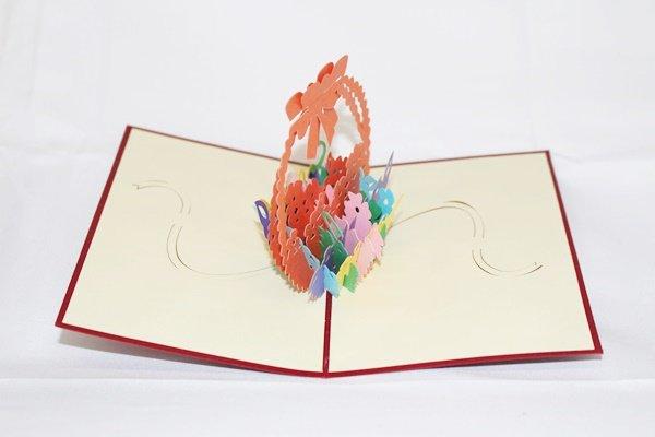 3D Pop Up Handmade Basket of Flowers Card US Seller Love Pop Card