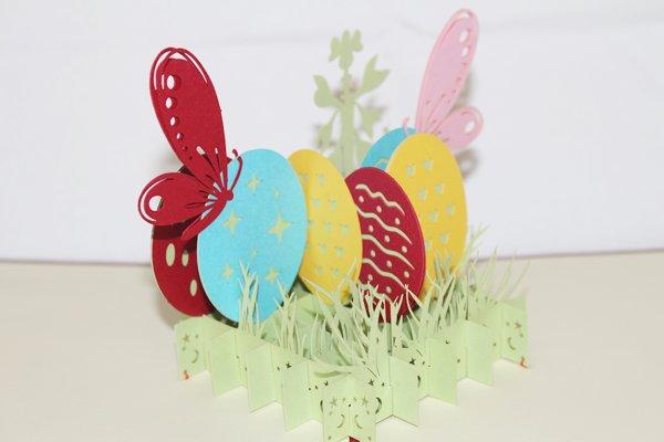 3D PopUp Handmade Easter Eggs with Butterflies Card US Seller Love Pop Card