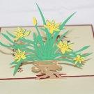 3D PopUp Handmade Pot of Flower Card US Seller Love Pop Card