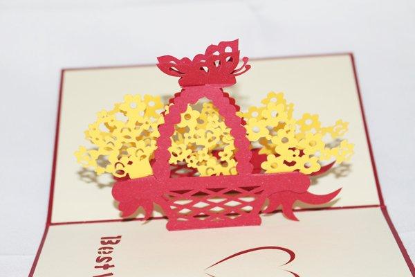 3D PopUp Handmade Flower Basket Card US Seller Love Pop Card