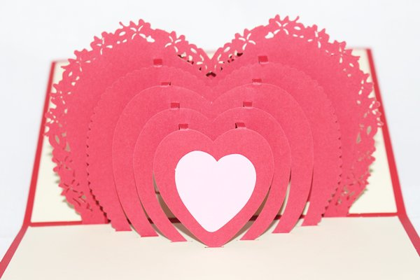 3D PopUp Handmade Valentine Heart Card US Seller Love Pop Card