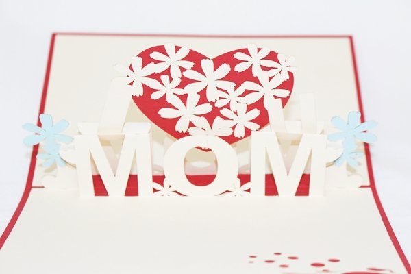 3D PopUp Handmade I Love Mom Mother Day Card US Seller Love Pop Card
