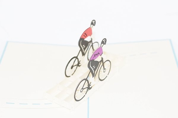 3D PopUp Handmade Bicyclists Card US Seller Love Pop Card