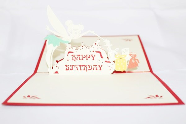 3D Pop Up Handmade Birthday Tinker Bell Greeting Card US Seller Love Pop Card