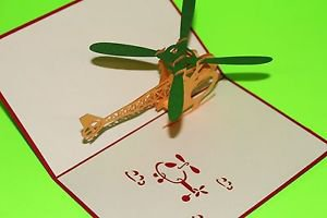 3D Pop Up Handmade Helicopter Greeting Card US Seller Love Pop Card
