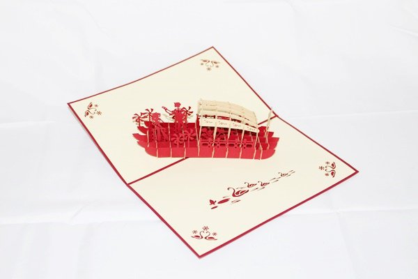 3D PopUp Handmade Love Boat with Couple Card US Seller Love Pop Card