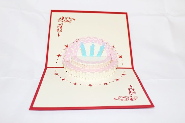 3D Pop Up Handmade Birthday Cake 3 Years Greeting Card US Seller Love Pop Card