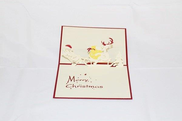 3D Pop Up Handmade Christmas Santa pull Reindeer Card US Seller Love Pop Card