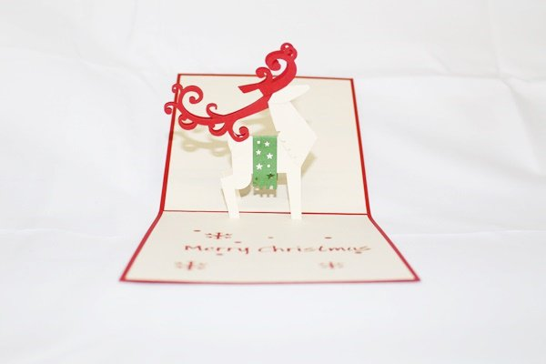 3D Pop Up Handmade Christmas Reindeer Greeting Card US Seller Love Pop Card