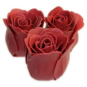 3 Rose Bath Confetti Roses in Heart Box