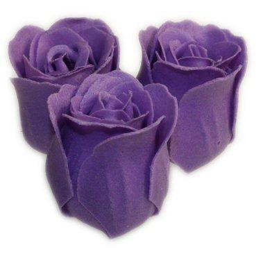 3 Lavender Bath Confetti Roses in Heart Box