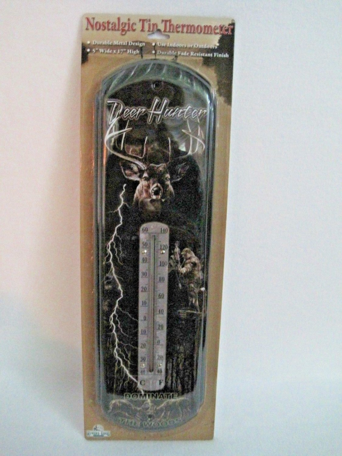 Nostalgic Tin Thermometer~Indoor or Outdoor~River's Edge~Deer Hunter