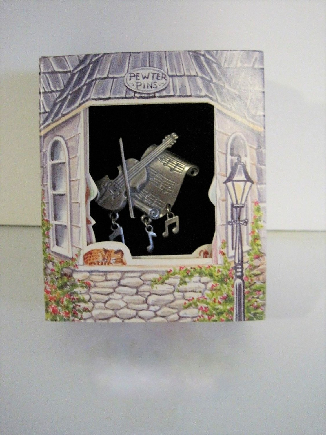 Lindsay Claire Designs Boxed Pewter Pin - Violin/Music Sheet w/Dangling Charms