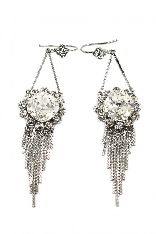 Noble pendant sunflower crystal tassel silver earrings