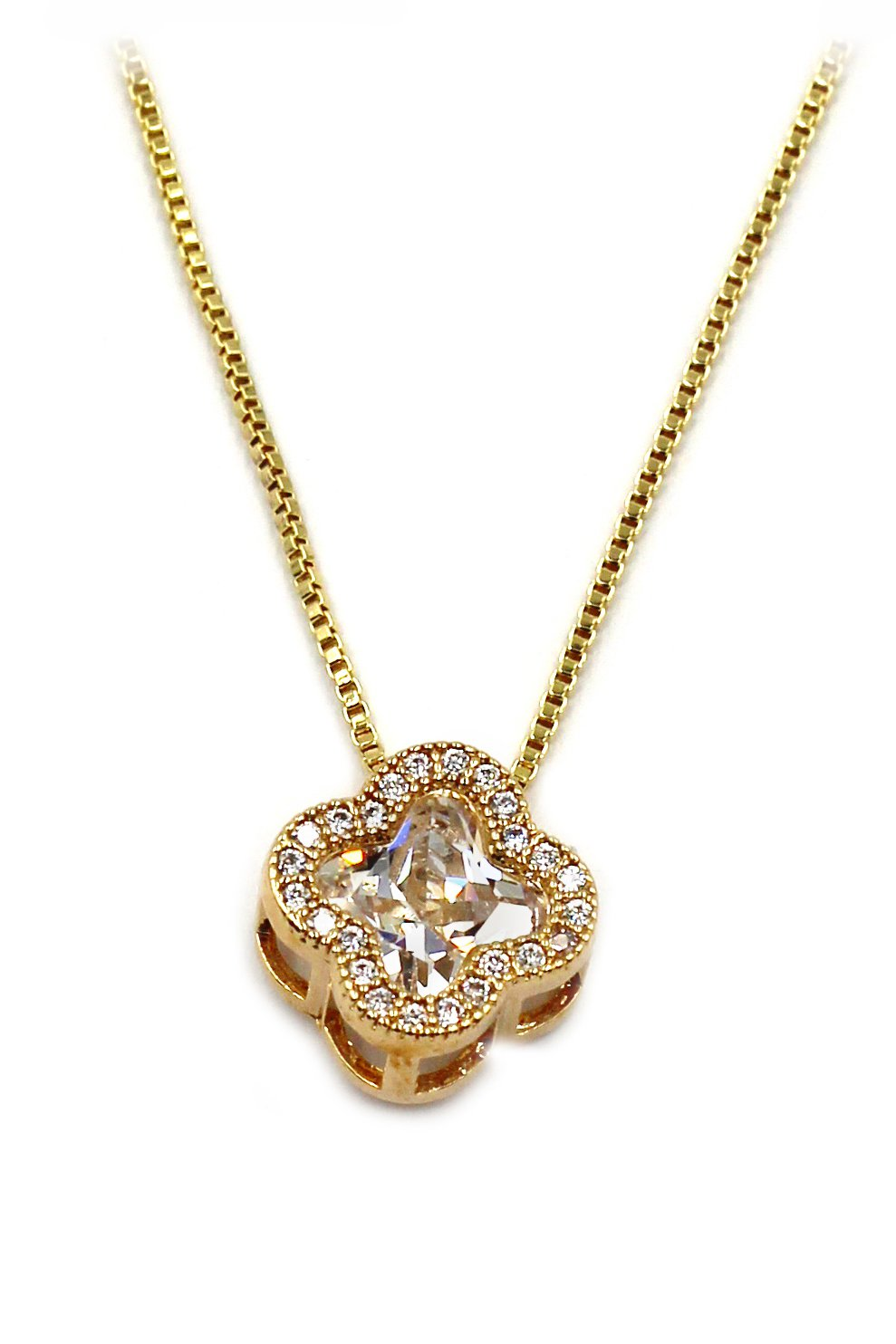 Stylish cherry crystal gold necklace