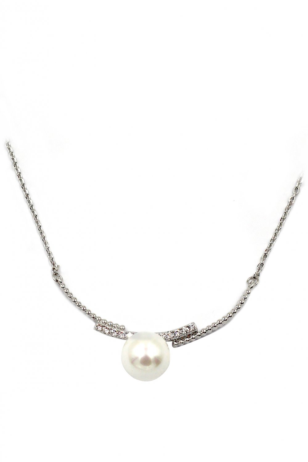 Copulation silver ceystal line and pearl necklace