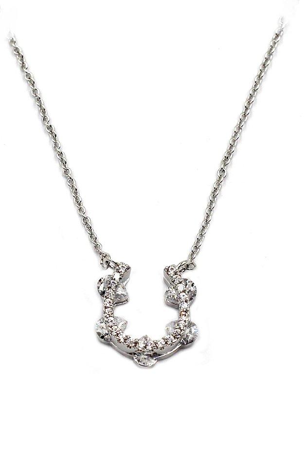 Lovely shape U crystal pendant silver necklace