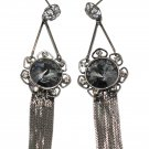Noble pendant black tassel black crystal flower earrings