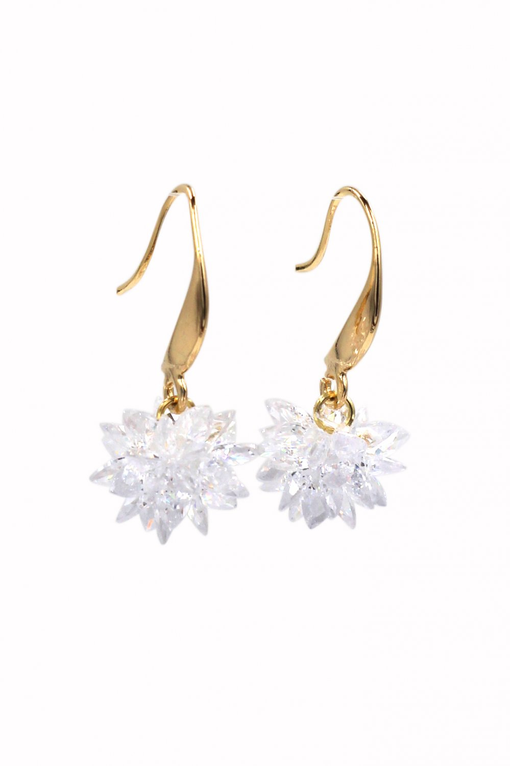 Sparkling snowflake crystal gold earrings
