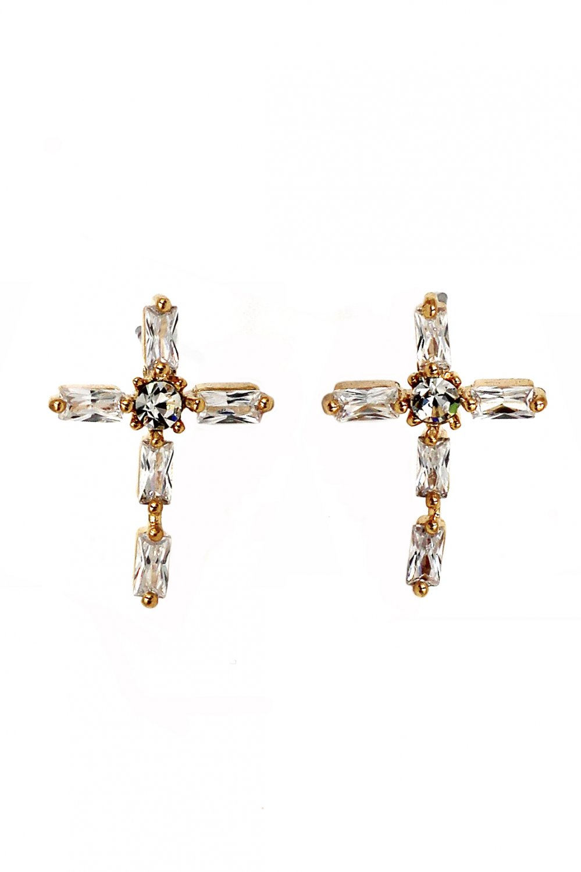 Mini cross crystal gold earrings