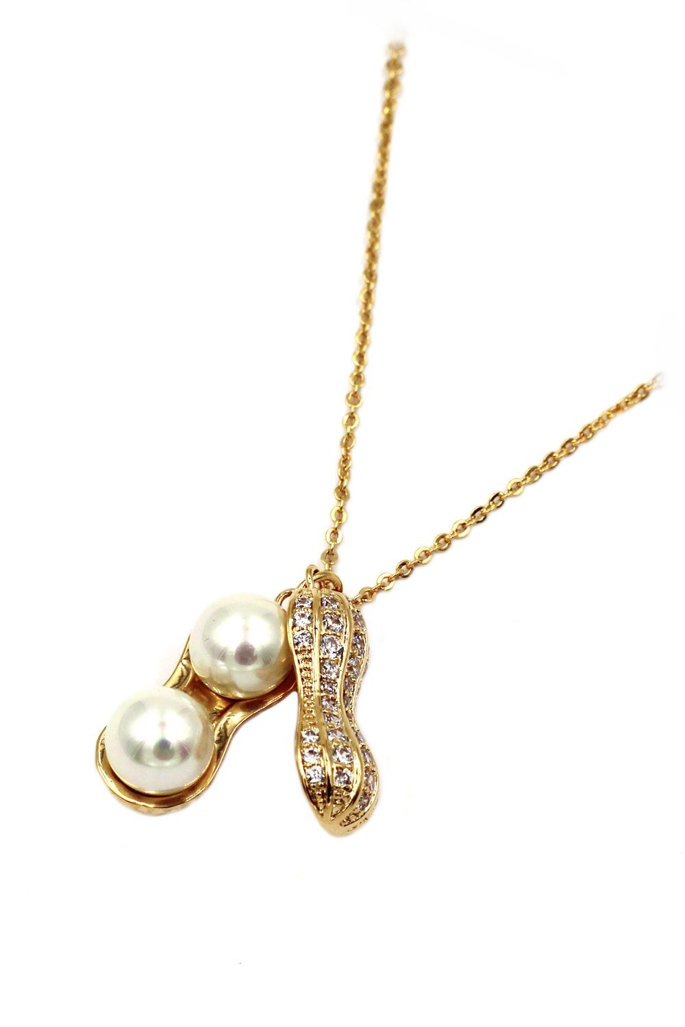 Peanut shape exquisite pearl gold necklace