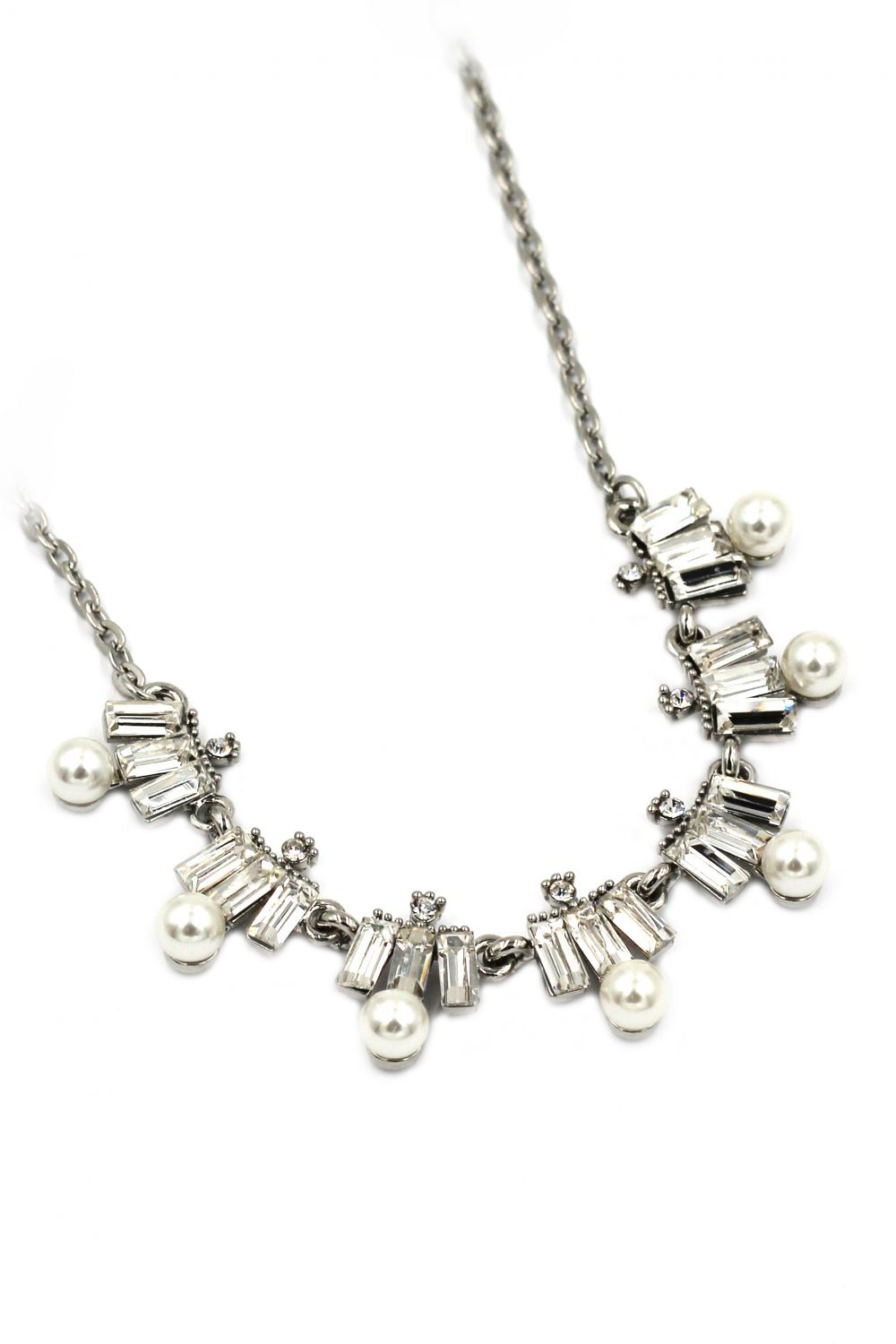Fashion white crystal and pearl silver necklace