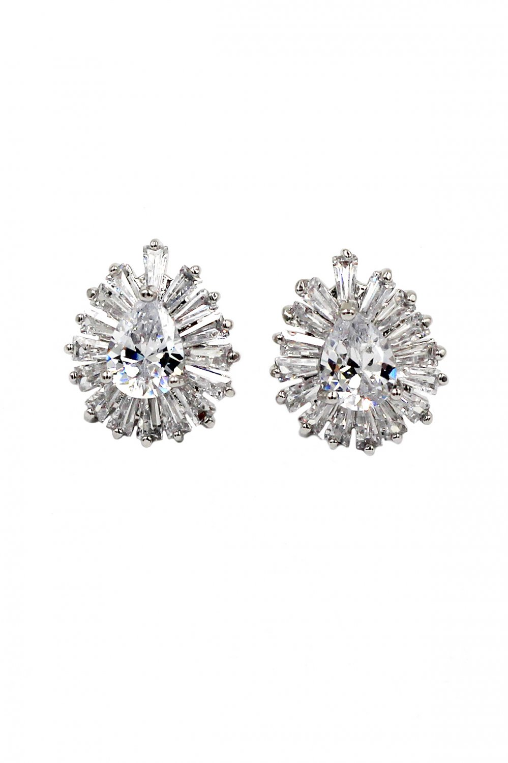 Noble crystal spider silver earrings