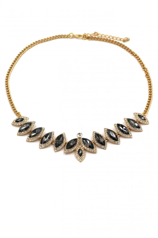 Fashion crystal groats golden black necklace