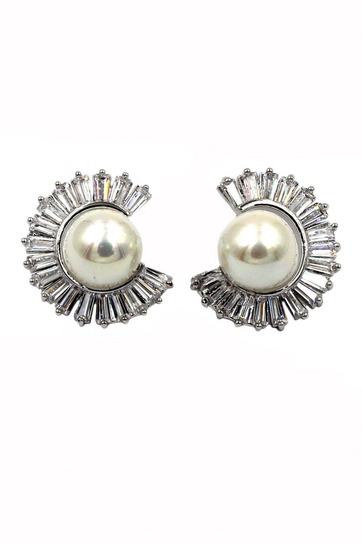 Noble inomplete circle crystal pearl silver earrings
