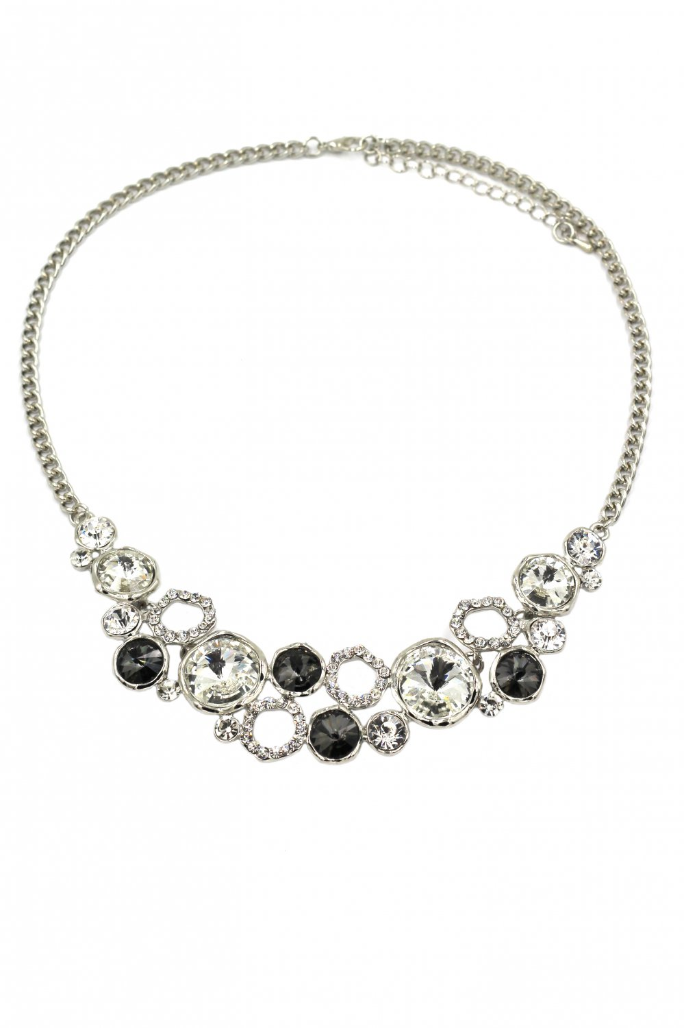 Fashion laps black crystal silver necklace
