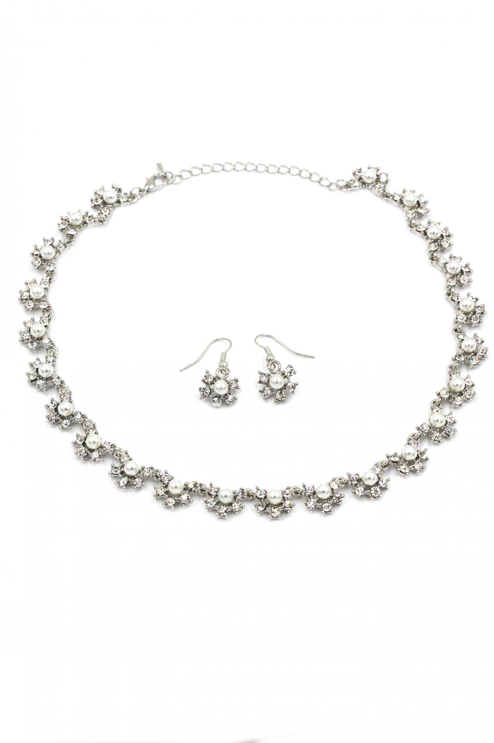 Classic crystal and pearl necklace earrings silver set