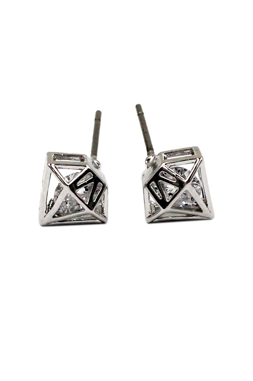 Mini triangle stud silver earrings