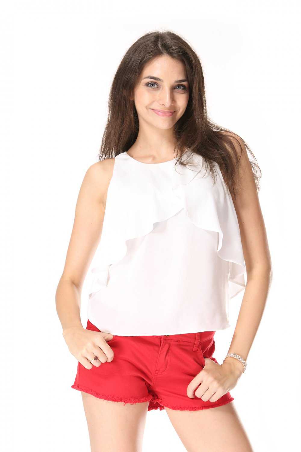 Summer cotton red shorts