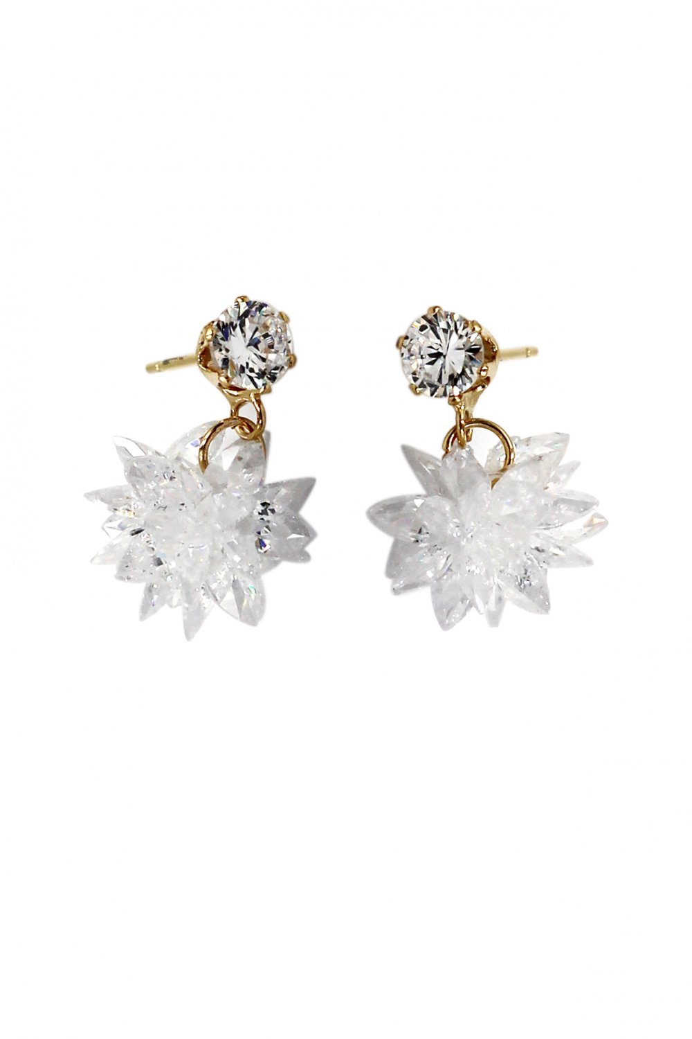 Shiny pendant ice crystals gold earrings