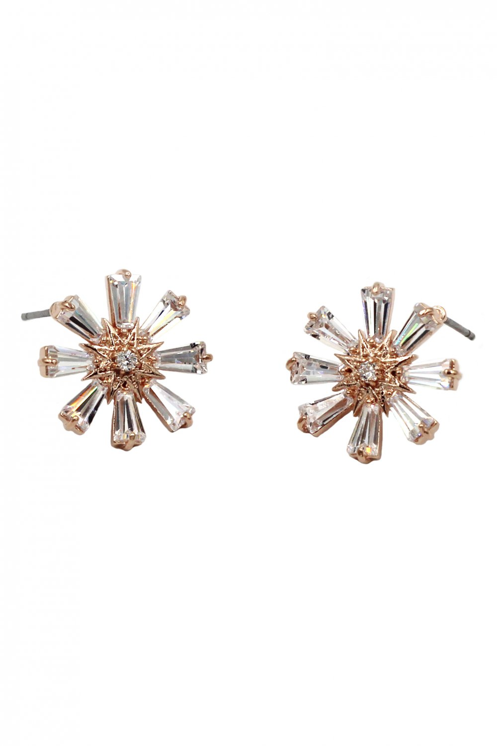 Shining crystal flower rose gold earrings