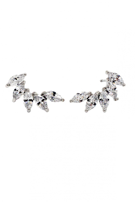 Delicate crystal silver earrings