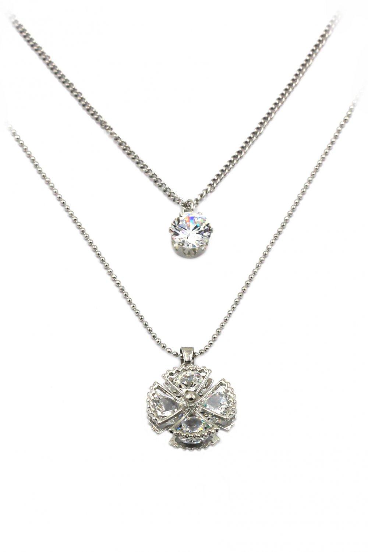 Duplexes crystal waves fan silver necklace