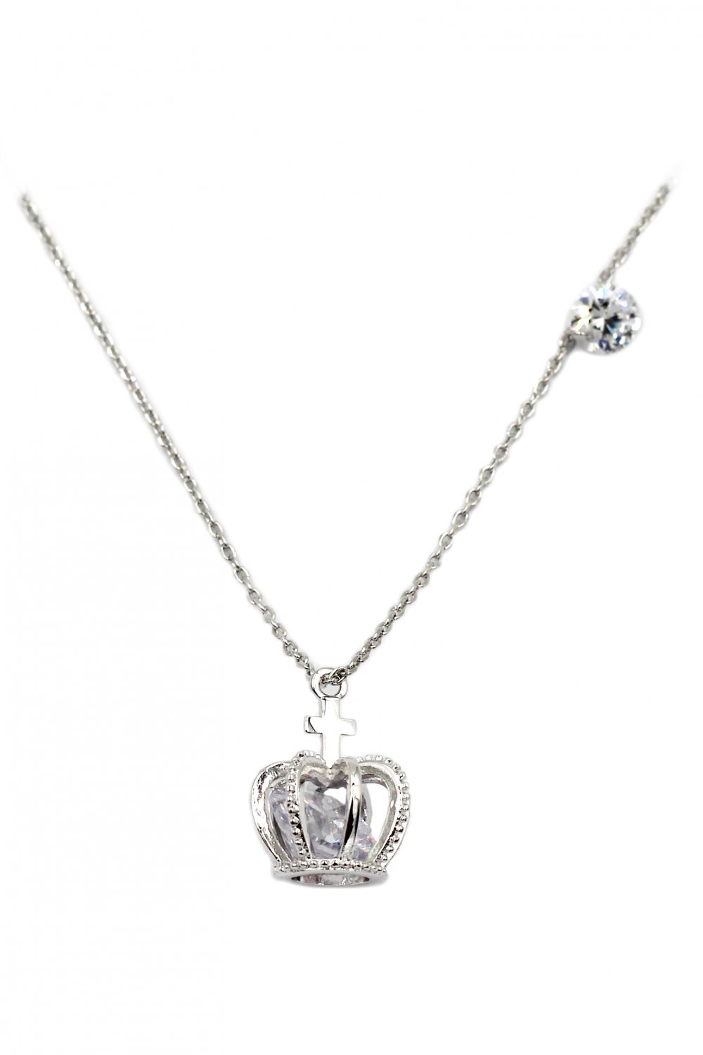 Crown crystal silver necklace