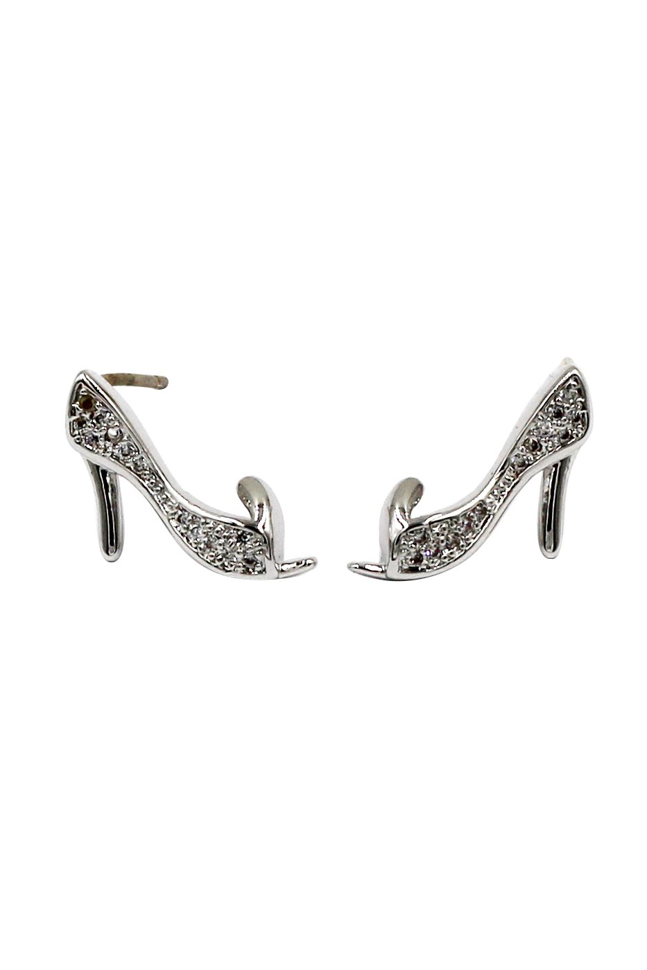 Mini heeled shoes crystal silver earrings