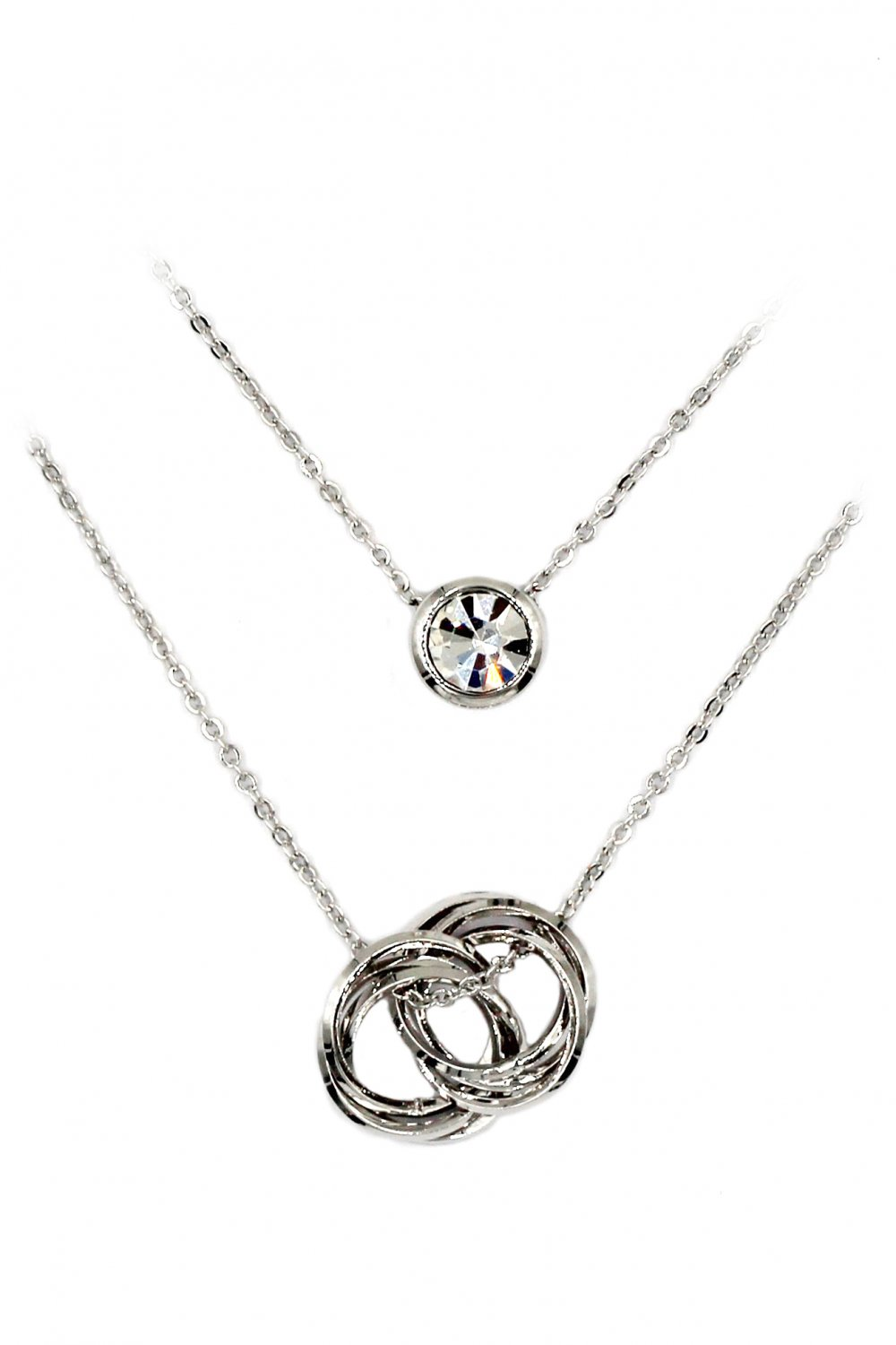 Duplexes crystal and circle silver necklace