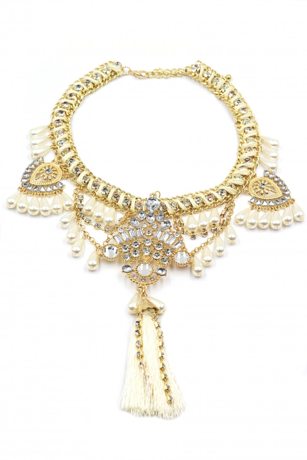 Colorful tassel national crystal and beads white necklace