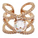 Fashion crystal opening rose gold ring